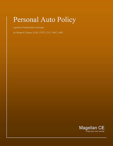 Personal Auto Policy (14 credits) CE Course - Online Only