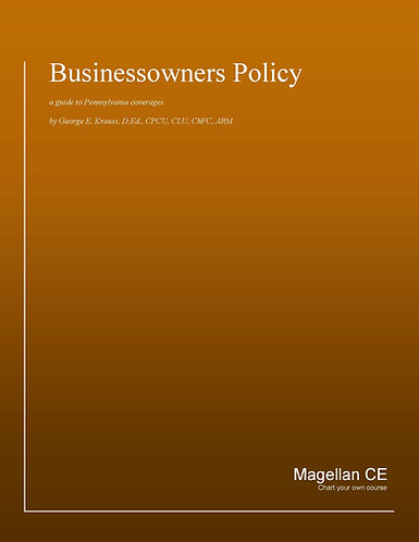Businessowners Policy (14 credits) CE Course - Online Only