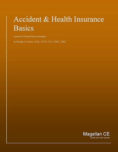 Pennsylvania Accident and Health Basics (20 credits) CE Course - Online Version