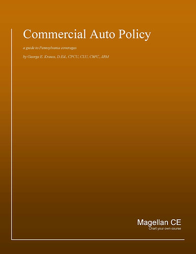 Commercial Auto Policy (8 credits) CE Course - Online Only