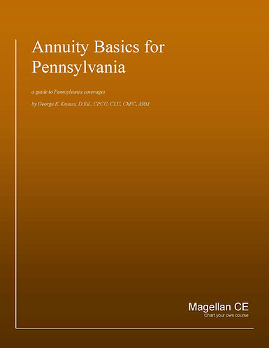 Annuity Basics for PA - Annuity Suitability (4 Credits) CE Course - Online Only
