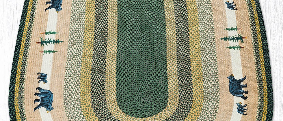 Bear Oval Rug - Green