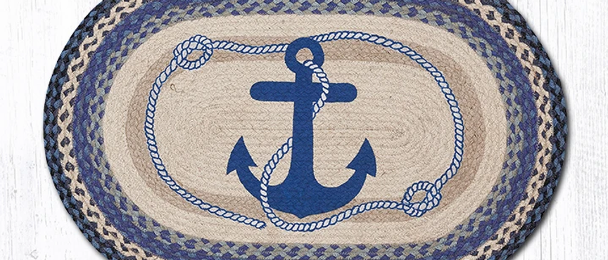 Anchor Oval Rug - Navy