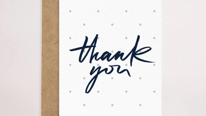 Grey Polkadot Thank-You Card
