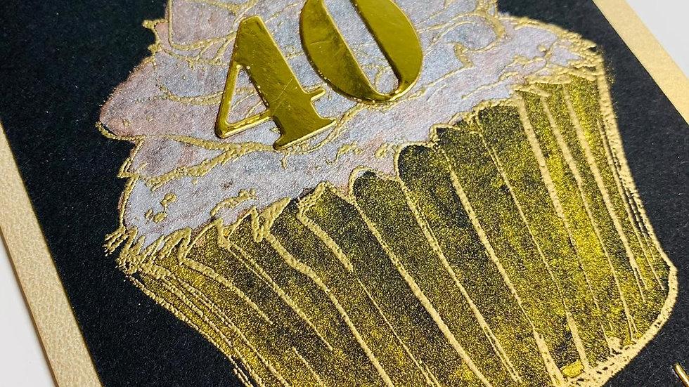 Happy 40th Birthday Gold Cake!