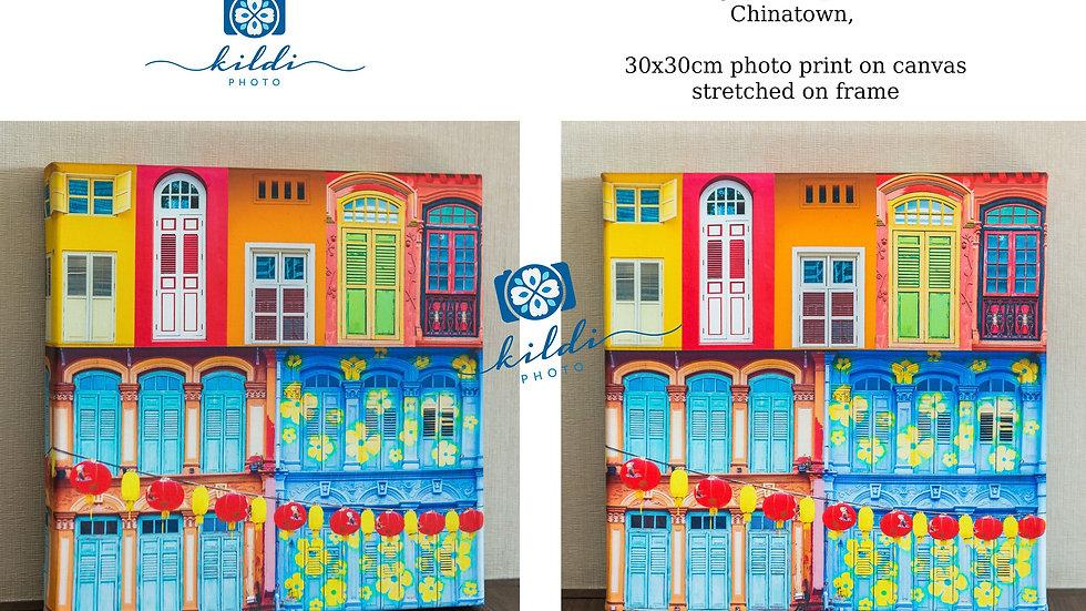 Singapore Peranakan Shophouse Fine Art Photography Square Print on Canvas