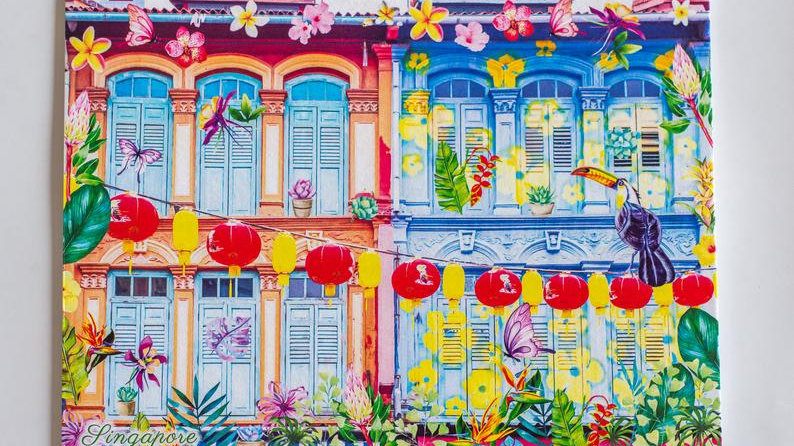 Peranakan Singapore Shophouse Tropical theme Cards (Set of 5)