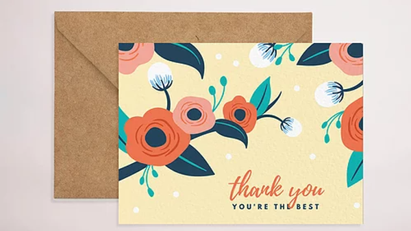 Yellow Floral Thank-You Card
