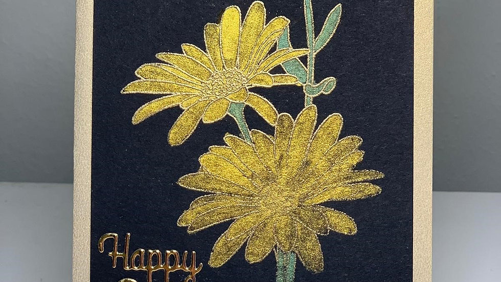 Lux Happy Birthday Yellow and Black Card