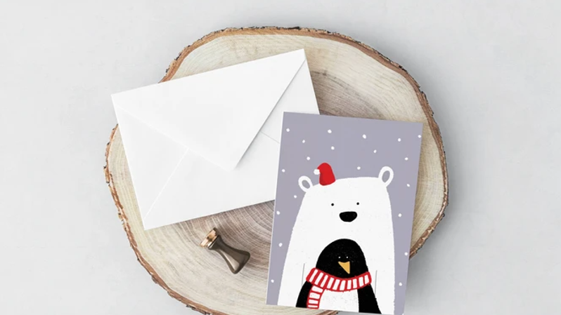 Polar Penguin Christmas Card