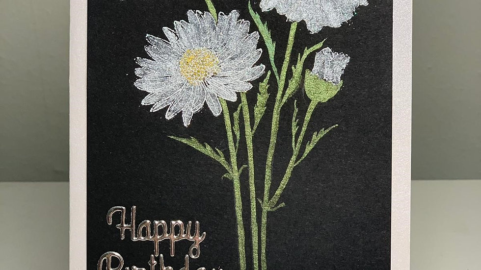 Lux Happy Birthday Silver and Black Card