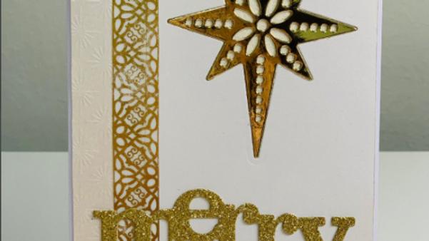 Handmade Gold Merry Christmas Card