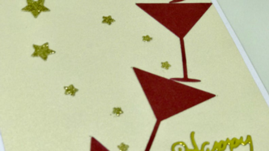 New Year Wine Glasses Card