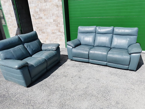 Positano 3RR & 2RR Full Leather Suite (Blue)