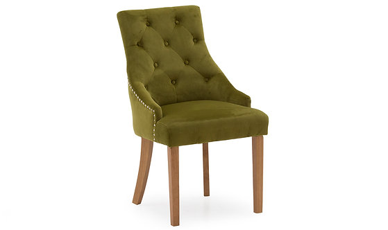 Hobbs Velvet Dining Chair - Oak Leg - Moss