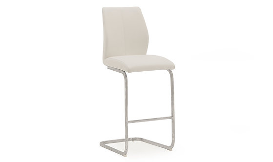 Elis Bar Chair - Chrome Leg White