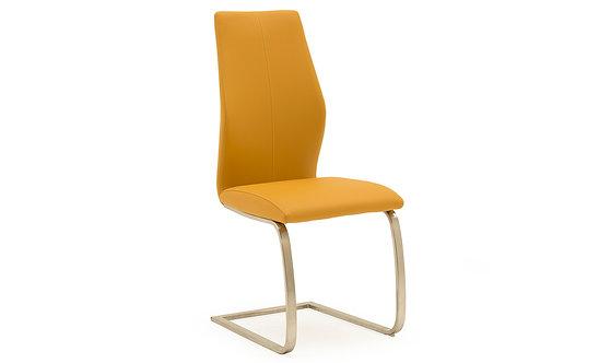 Irma Dining Chair - Brushed Steel - Pumpkin