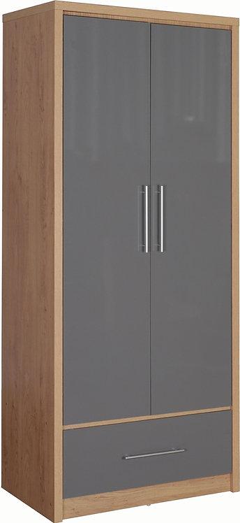 Seville 2 Door 1 Drawer Wardrobe - Grey
