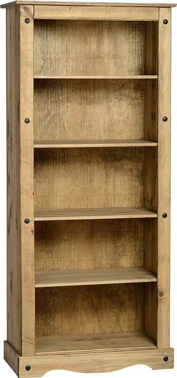 Corona Large Bookcase - Distressed Waxed Pine
