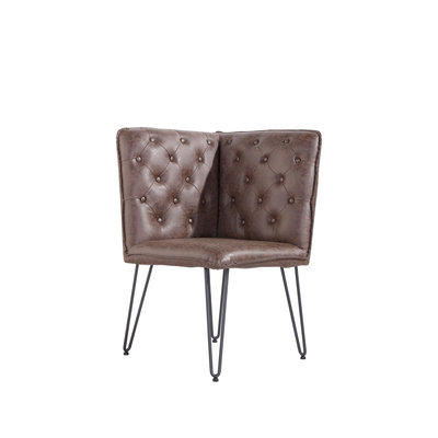 Chicago Studded Back Corner Bench with Hair Pin Legs (64cm)