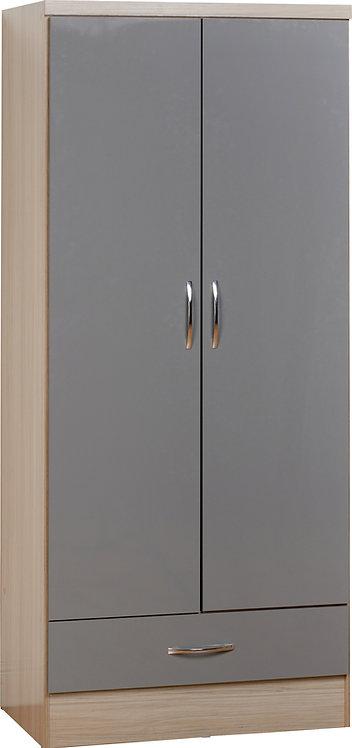 Nevada 2 Door 1 Drawer Wardrobe - Grey