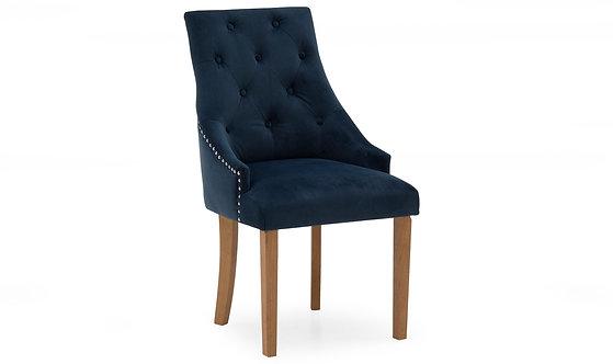 Hobbs Velvet Dining Chair - Oak Leg - Midnight