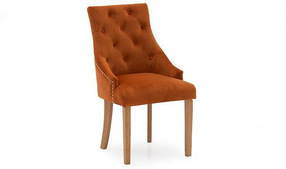 Hobbs Velvet Dining Chair - Oak Leg - Pumpkin