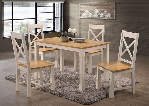 Rochester 5' Dining Set Cream