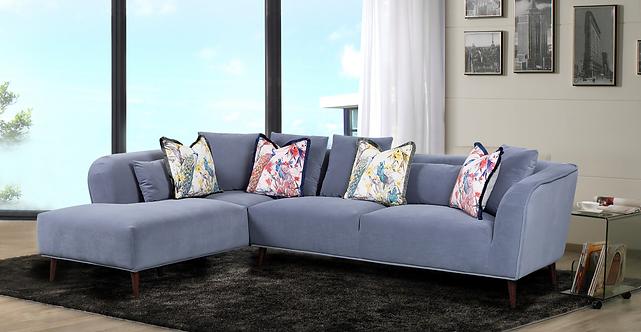 Bradley Corner Sofa - Grey Velvet