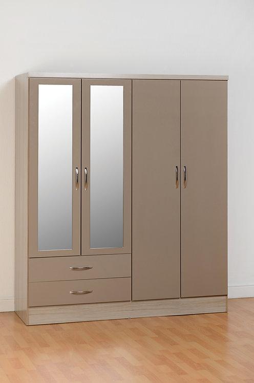 Nevada 4 Door 2 Drawer Mirrored Wardrobe - Oyster