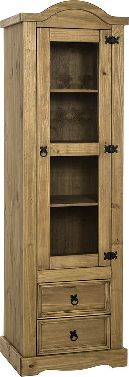 Corona 1 Door 2 Drawer Glass Display Unit - Distressed Waxed Pine