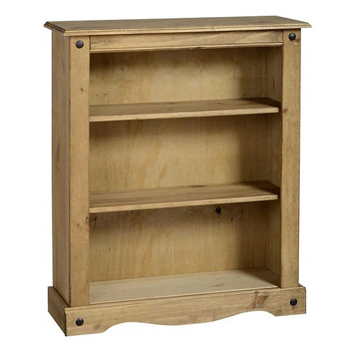 Corona Low Bookcase - Distressed Waxed Pine