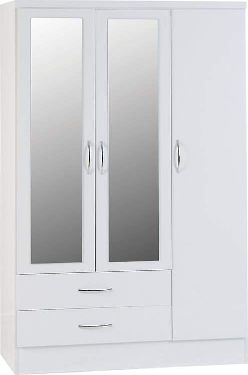 Nevada 3 Door 2 Drawer Mirrored Wardrobe - White