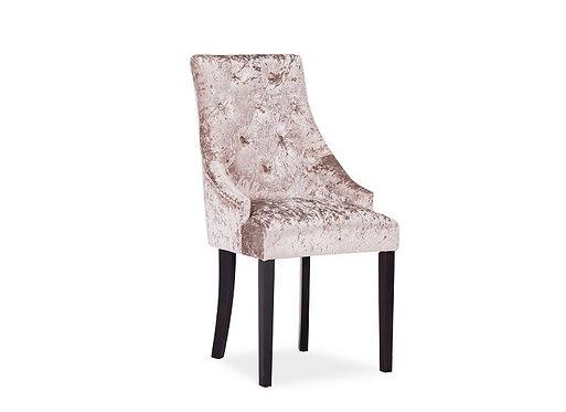 Hobbs Crushed Velvet Dining Chair - Wenge Leg - Mink