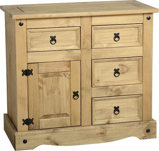 Corona 1 Door 4 Drawer Sideboard - Distressed Waxed Pine