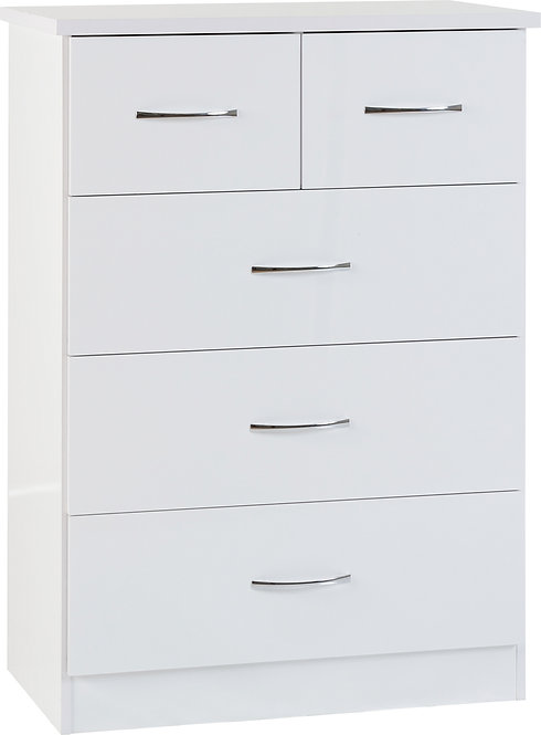 Nevada 3 & 2 Drawer Chest - White