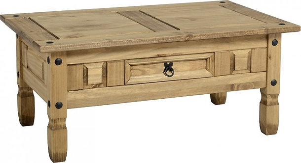 Corona 1 Drawer Coffee Table - Distressed Waxed Pine