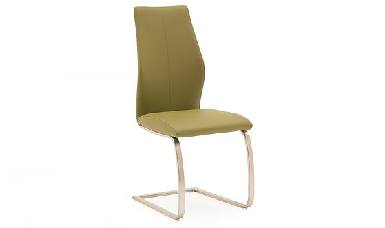 Irma Dining Chair - Brushed Steel - Olive