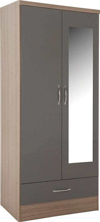 Nevada 2 Door 1 Drawer Mirrored Wardrobe - Grey