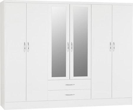 Nevada 6 Door 2 Drawer Mirrored Wardrobe