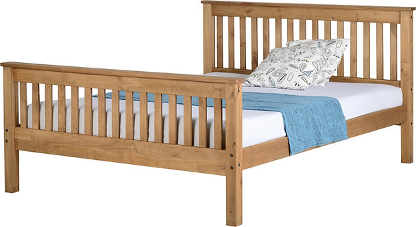 Monaco Bedframe - 5FT High End - Distressed Waxed Pine