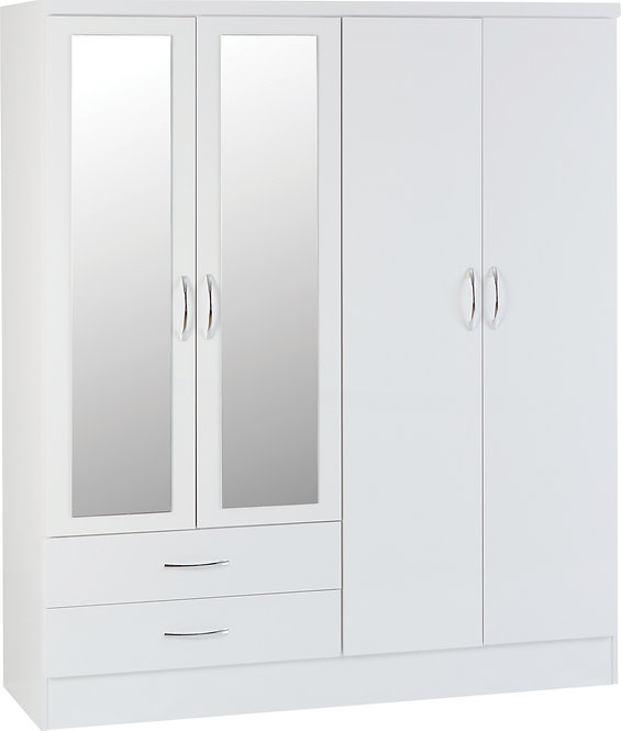 Nevada 4 Door 2 Drawer Mirrored Wardrobe - White