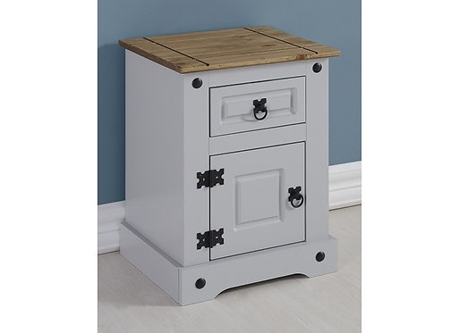 Corona 1 Drawer 1 Door Beside Cabinet - Grey