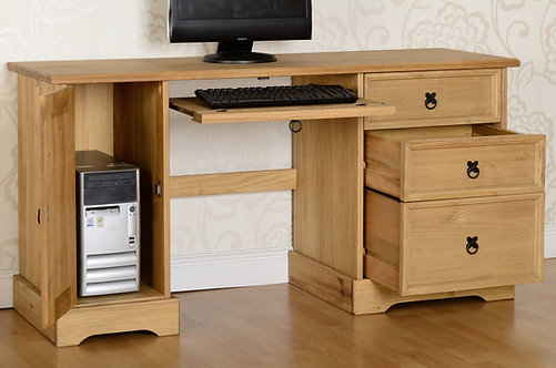 Corona Computer Desk in Distressed Waxed Pine