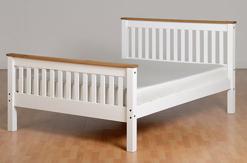 Monaco Bedframe - 4FT6 High End - White/Distressed Waxed Pine