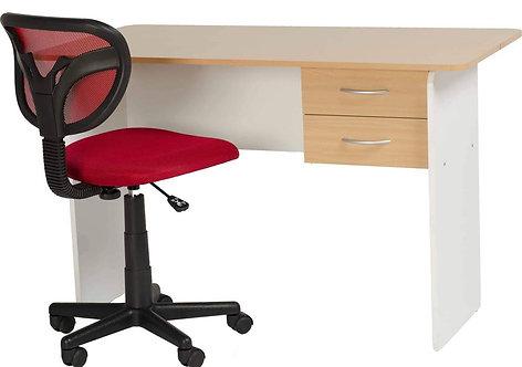 Jenny 2 Drawer Study Desk - Beech/White