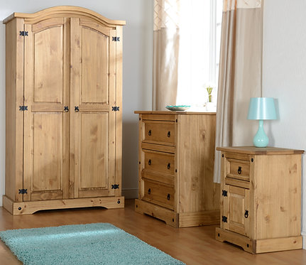 Corona 2 Door Wardrobe - Distressed Waxed Pine