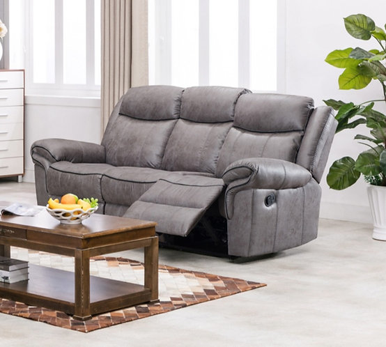 Lisbon Grey 3 Seater Reclining Sofa