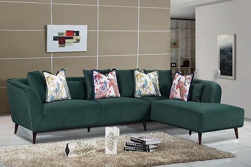 Bradley Corner Sofa - Royal Green Velvet
