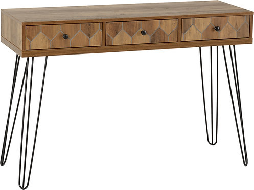 Ottawa 3 Drawer Console Table in Medium Oak Effect/Black